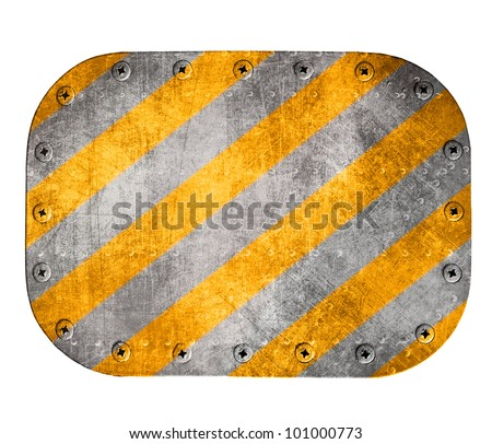 Metal plate isolated on white background - stock photo