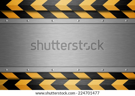 metal plate on a Black and yellow lines background  - stock photo
