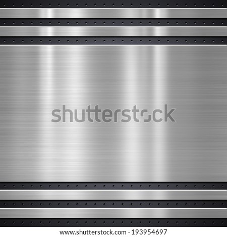 Metal plate on metal mesh background or texture - stock photo