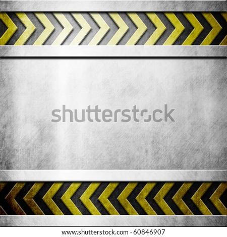 Metal plate with hazard yellow stripes - stock photo