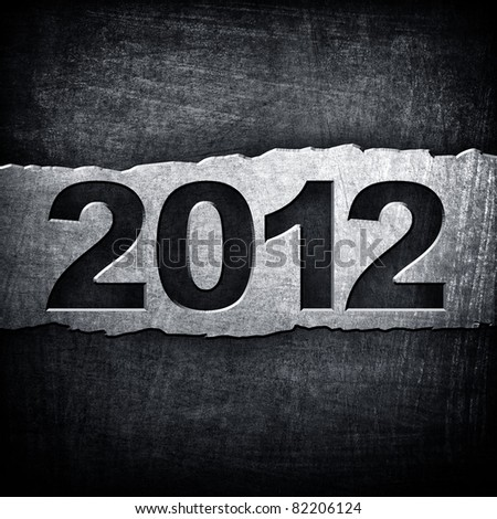 "metal plate with ""2012"" number - stock photo"