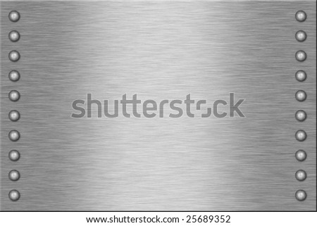 Metal plate with rivets. - stock photo