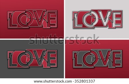 """Metal plate with the word """"Love"""" shattered. Red and gray pieces set backgrounds. - stock photo"""