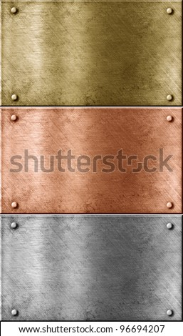 metal plates set including bronze (copper), gold (brass) and aluminum - stock photo
