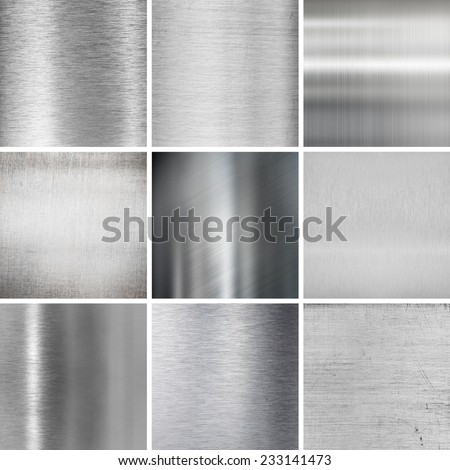 metal plates textured backgrounds set - stock photo