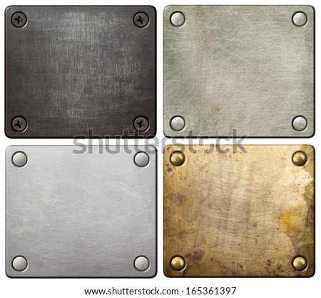 Metal plates with screws and rivets. - stock photo