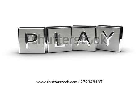 Metal Play Text (Isolated on white background) - stock photo