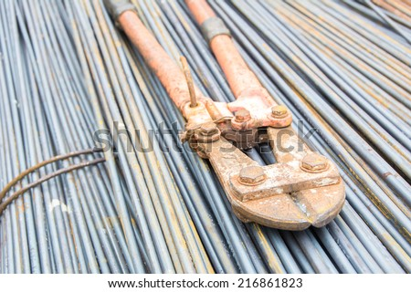 Metal pliers Strong rod cutting pliers used in construction sites,shallow depth of field - stock photo