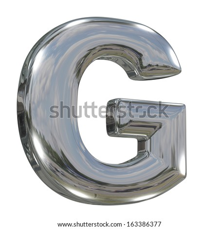 Metal polished glossy letter G from chrome solid alphabet isolated on white - stock photo