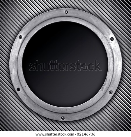 metal porthole - stock photo