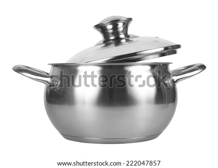 Metal pot with glass lid, isolated on white background - stock photo