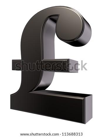 metal pound sterling symbol on white background - 3d illustration - stock photo