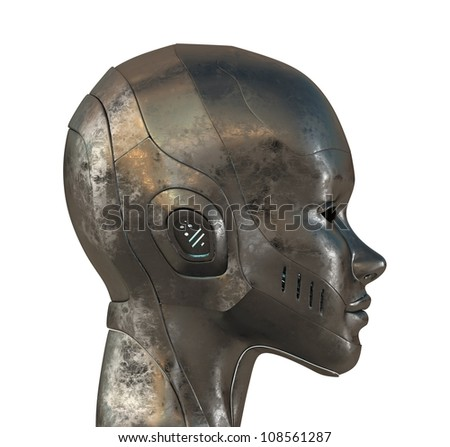 Metal profile of cyborg. 3d image isolated on white - stock photo