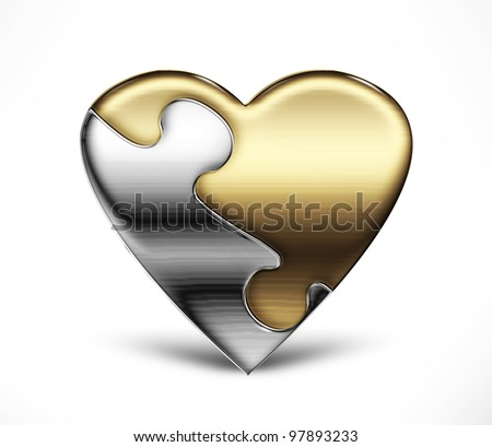 Metal puzzle heart from two parts on a light background - stock photo