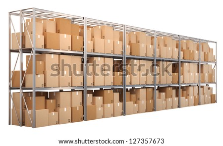 Metal racks with boxes isolated on white background - stock photo