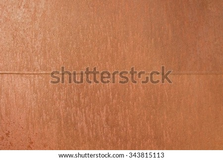 Metal red corrosion. Orange gentle structure of oxidation on welded seam. - stock photo