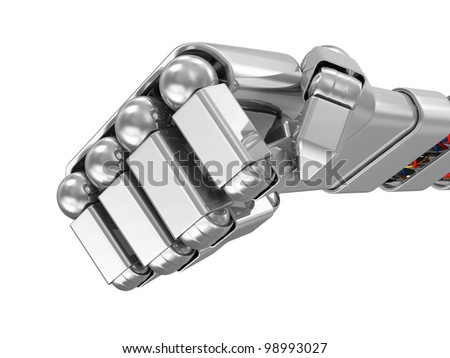 Metal Robotic Fist isolated on white background - stock photo