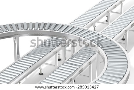 Metal Roller Conveyor System. Industrial Roller Conveyor System. Abstract assembly of steel conveyors in various directions. - stock photo