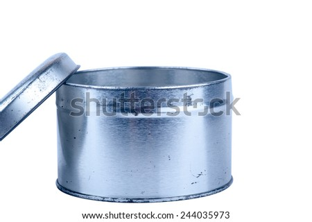 Metal round box old on a white background - stock photo
