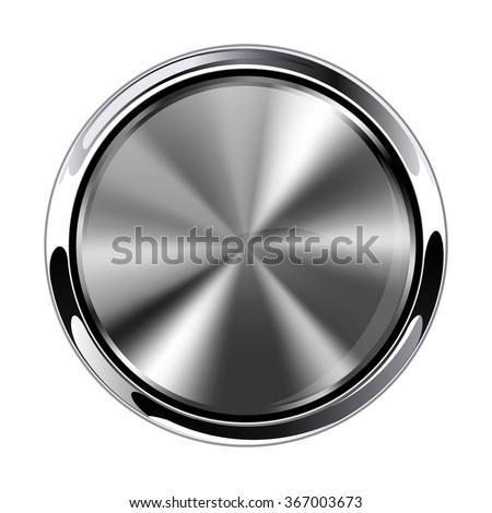 Metal round button. Chrome frame.  Raster version. Illustration isolated on white background. - stock photo