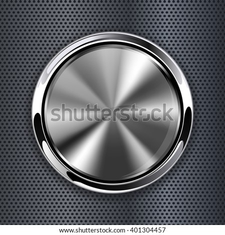 Metal round button. Web icon on perforated background. Raster version - stock photo