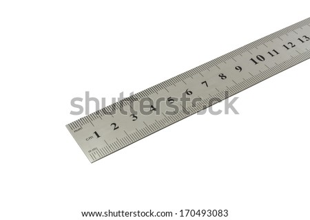 metal ruler with centimetre scale on a white background with clipping path - stock photo