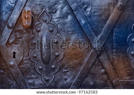 metal rusty blue door - stock photo