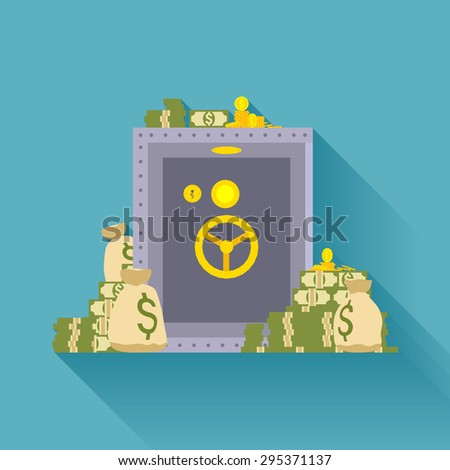 Metal safe storage, golden coins, bags of money. Conceptual illustration suitable for advertising and promotion - stock photo