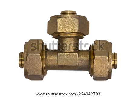 Metal sanitary fitting isolated on a white background - stock photo