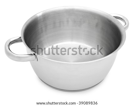 metal saucepan without cover against the white background - stock photo