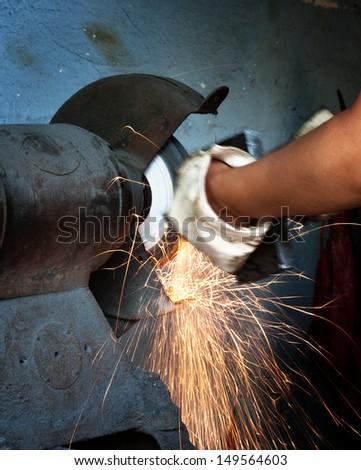 metal sawing close up - stock photo
