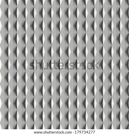 Metal seamless pattern 3D. Computer generated seamless pattern of the metal leaf with vertical stripes and 3D diamond shapes. - stock photo