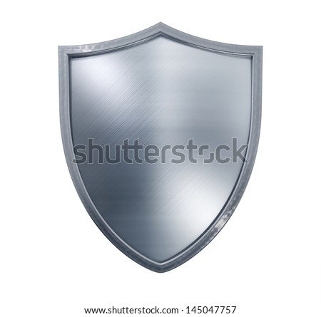 Metal shield isolated on white. - stock photo