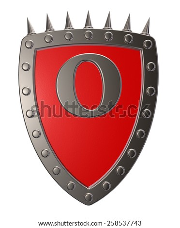 metal shield with letter o on white background - 3d illustration - stock photo