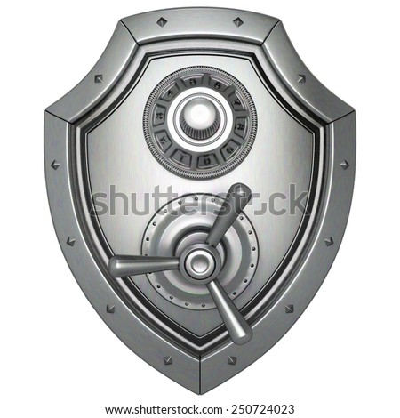 metal shield with safe lock. isolated on white background. - stock photo