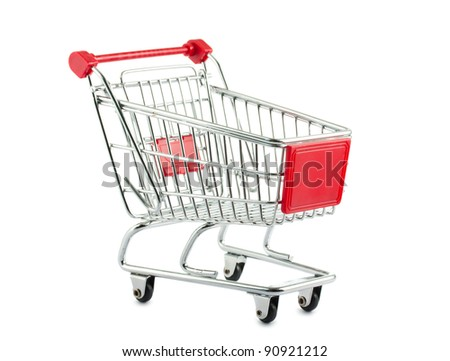 Metal shopping cart isolated on white background - stock photo