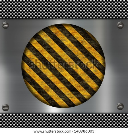 metal sign and warning stripes - stock photo