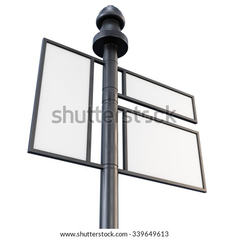 Metal sign board close-up on a white background. 3d illustration. - stock photo
