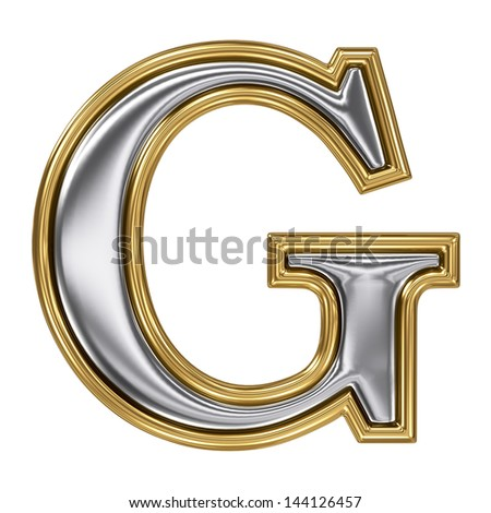 Metal silver and gold alphabet letter symbol - G - stock photo
