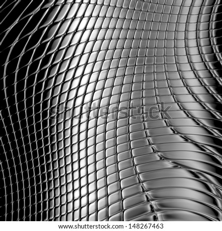 Metal silver checked  pattern - stock photo