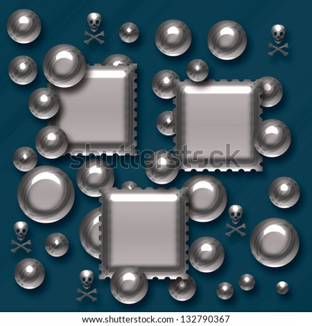 metal skulls squares and balls on blue background illustration - stock photo