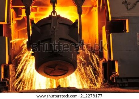 Metal smelting casting  - stock photo