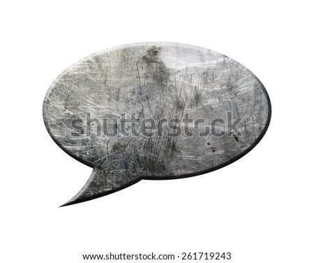 Metal Speech Bubble, isolated on white background. - stock photo