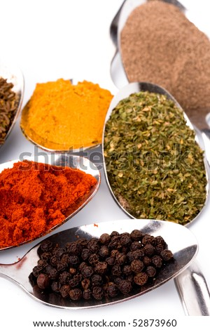 metal spoons with various ground spices on white background - stock photo