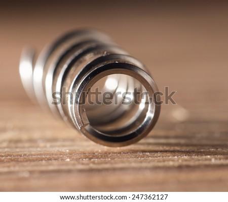 metal spring. close-up - stock photo