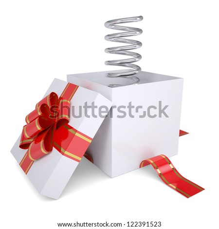 Metal spring from an open gift. Isolated render on a white background - stock photo