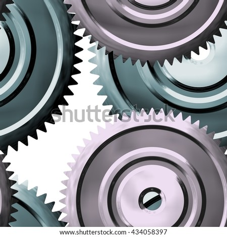 Metal sprockets on white background - abstract illustration - stock photo