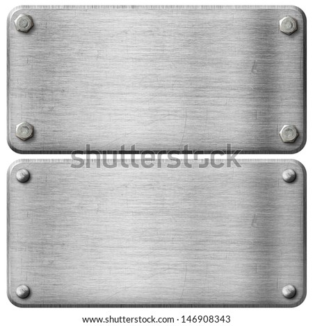 metal steel plates set with screws and rivets isolated - stock photo