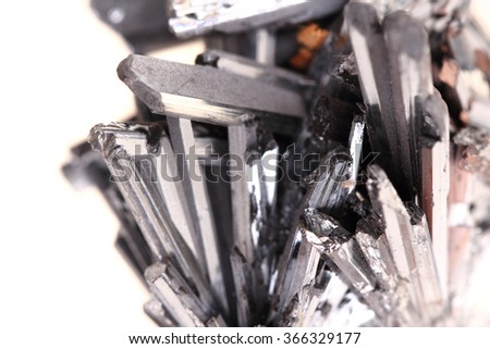metal stibnite mineral isolated on the white background - stock photo