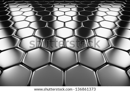 Metal surface of steel hexagons perspective view shiny abstract industrial background - stock photo